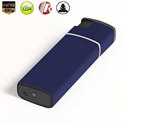 Encendedor, Camara espía Oculta HD 1080 USB Video Grabador Lente con Audio, función mechero Fuego Real, SD 32 GB Soporte. Color Negro y Azul. (Azul)