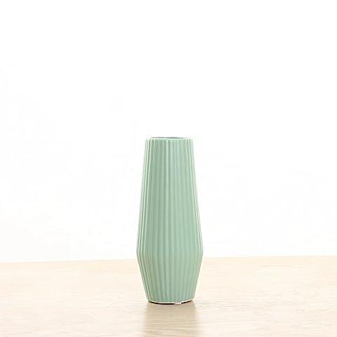 Maivas Décoration Vase en céramique simple moderne Mat Rayures verticales