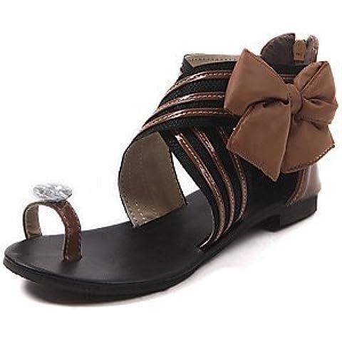 Mujer PeepToe Zapatos De charol de las mujeres de tacón Sandalias planas del anillo del dedo del pie Zapatos (más colores)