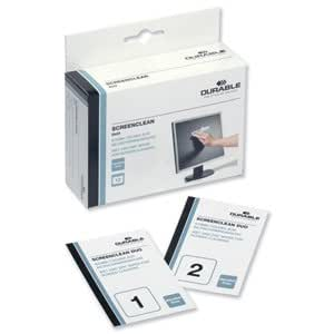Durable Screenclean Duo Antistatic Wet & Dry Wipes Ref 5721 [Pack 10 sets]