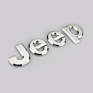Aurnoc 2pc Jeep Logo Chrome Badge Aufkleber Emblem Aufkleber für CHEROKEE Wrangler 3D Legierung (chrom silber)