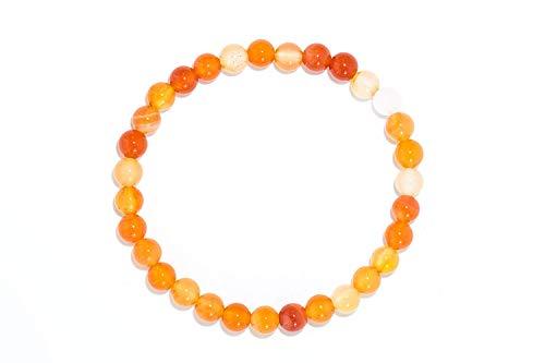 Haoda - Orange weißes Armband aus dem natürlichen Edelstein Karneol mit 6 mm Kugeln auf elastischem Nylonfaden aufgezogen - (Jupiter Kostüm Planet)