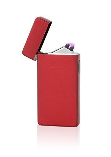 TESLA Lighter T13 Lichtbogen Feuerzeug, Plasma Double-Arc, elektronisch wiederaufladbar, aufladbar mit Strom per USB, ohne Gas und Benzin, mit Ladekabel, in Edler Geschenkverpackung, Magmarot
