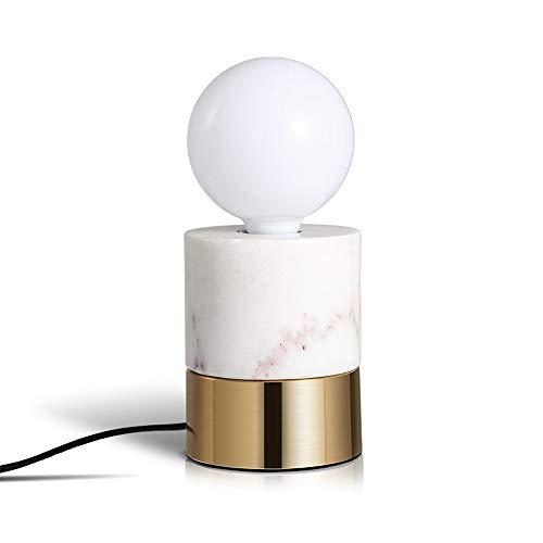 Rishx Moderne marmoreisen led schreibtisch licht e27 runde marmor desktop lampe schlafzimmer nacht laterne cafe wohnheim zimmer studie tischlampe