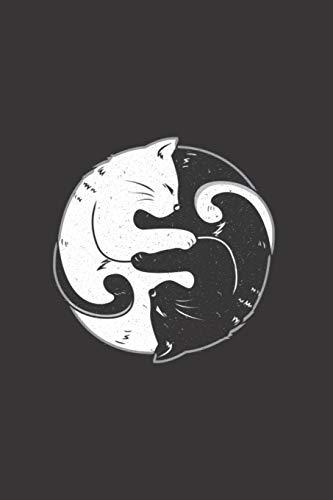 Ying Yang Katzen Liebhaber Notizbuch: Mietze Kätzchen Kitty Schwarz Weiss Zen 120 College Liniertes Papier - Notizblock Zum Reinschreiben für Schule ... Büro für Yin Yang Yoga Zen Meditation Fans -