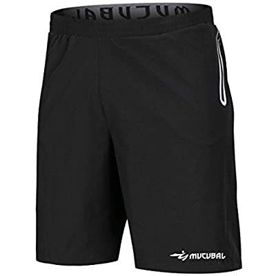 MUCUBAL Men's Athletic Running Shorts Quick Dry Lightweight Training Fitness Gym Sport Shorts Male with Reflective Zip Pockets