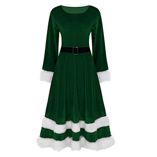 Tiaobug Weihnachtskleid Damen festlich Samt Kleid Winter Frauen -