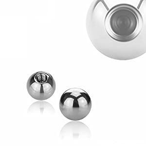 eeddoo Piercingkugel Schraub-Gewinde Extragroß Silber Edelstahl
