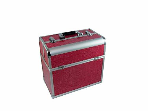 N&BF Profi Kosmetikkoffer groß | 35 x 22 x 36 cm | Beautycase Pink Croco | robuster Nagelkoffer aus Aluminium | Viel Stauraum | Aufklappbare Fächer auf zwei Etagen verteilt | pflegeleicht (Tasche Profi Kosmetik)