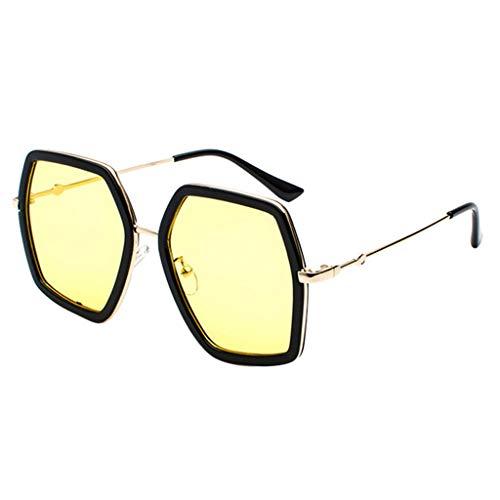 fazry Unisex Jahrgang Metall Groß irregulär Rahmen UV-Schutz Sonnenbrille (Gelb)