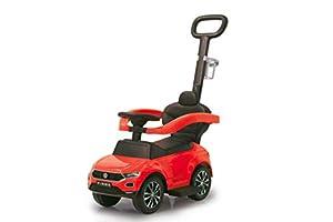 Jamara 460461-Correpasillo VW T-Roc 3en1 Antivuelco, Sonidos, Protección Lateral, Soporte con función de dirección, Portavasos, Apoyapiés Extensible, Color Rojo (460461)