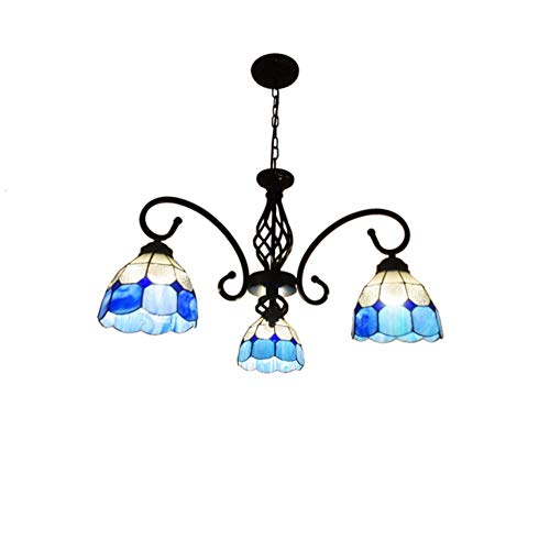 Lampada a sospensione Stile Tiffany Lampadario floreale fatto a mano Lampada mediterranea Lampada per interni barocco in vetro per soggiorno Salotto Sala Balcone Cucina Ingresso camera da letto E27*3