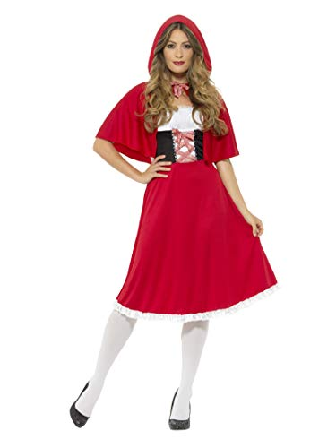 Smiffys Damen Rotkäppchen Kostüm, Langes Kleid und Umhang, Größe: 48-50, 44685