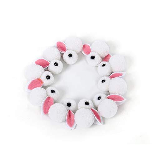 Funhoo 10 pezzi mini conigli in pompon per decorare creazioni pasquali, fascia per capelli da giardino, contorno ideale, accessori per capelli, sorprese fai-da-te (sfera di filato bianca)