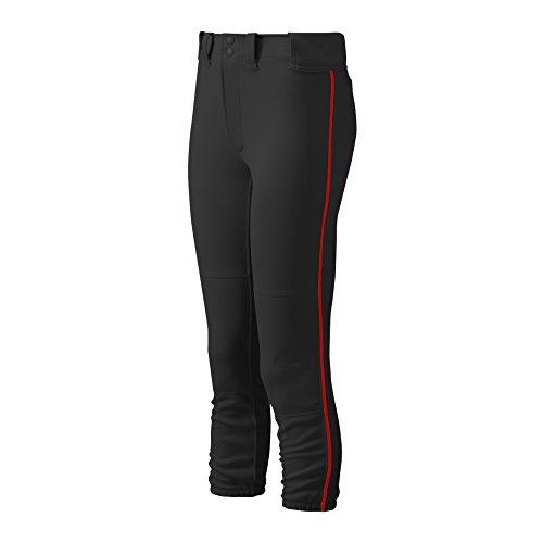 Mizuno Damen Gürtel Select Paspel Hose, Damen, 350314.9010.08.XXL, schwarz/rot, XXL Belted Jersey-shorts