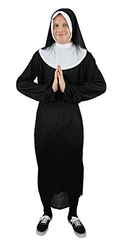 FANCY DRESS COSTUME-COSTUME DA SUORA DA UOMO A FORMA DI CERVO, COLORE: NERO NOTTE COMPLETO MAGLIA CON CAPPUCCIO, COLLETTO, MOTIVO: VESTITO, CINTURA, COLORE: NERO