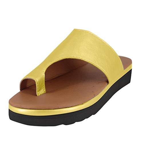 Sillor Classic Sandalen Damen Keile Zehentrenner Casual stylische Pantolette mit Kork-Fußbett Flacher Sandalen