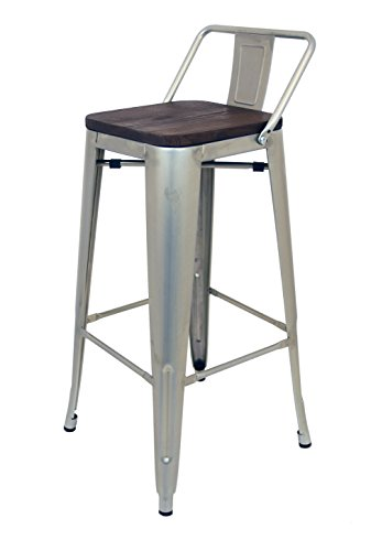 La Chaise Espagnole - Tabouret de style Tolix avec dossier et siège en bois. Acier Brossé, Gris. 95x43x43