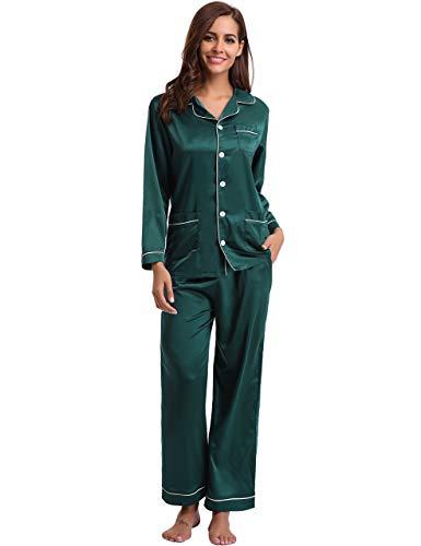 Klassische Kerbe-kragen (Aibrou Damen Satin-Pyjama Set Langer ärmel und Lange Button-down-nachtwäsche Lounge Large grün)