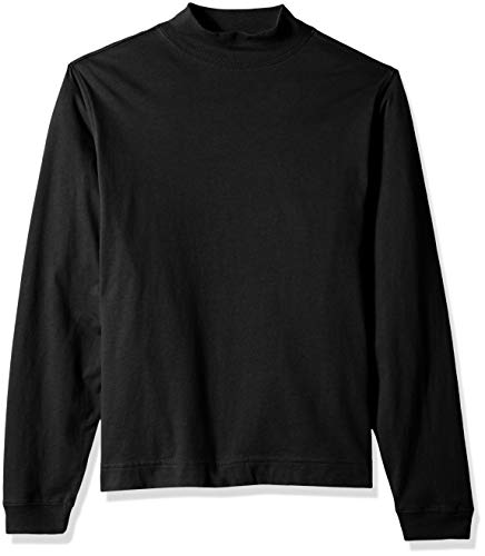 Schwarz Mock Turtleneck (D & Jones Herren Sueded Cotton Jersey Mock Turtleneck Sweatshirt, schwarz, X-Klein)