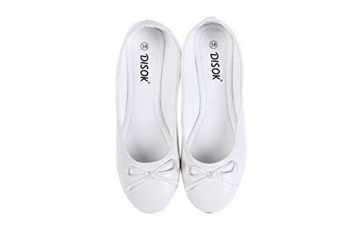 DISOK Bailarinas Manoletinas Wedding Talla-S Blanca - Bailarinas Baratas Bodas