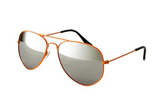 Nerdbrille Sonnenbrille Pilotenbrille Nerd Atzen Brille Brillen Orange Piloten Vollverspiegelt
