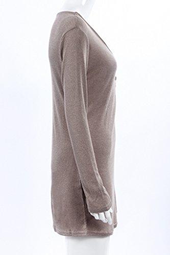 Damen Tiefem V-Ausschnitt Langärmlig Wickelkleid Mit Reißverschluss Uni-Farben Strickkleider Paket Hüfte kleider!<br>                 <br>                   Grau