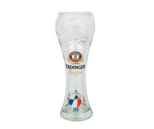 Weizen- / Weißbierglas mit Erdinger Logo und EM 2016 Verzierung - 0,5 l mit Füllstrich - perfekt für die diesjährige Europameisterschaft