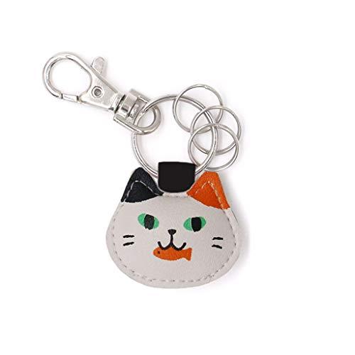 CJH Llavero cuero gatito manera llavero creativo llavero