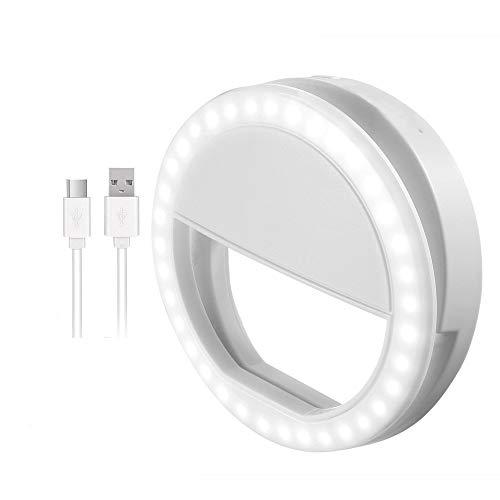 Selfie Ring Light, Lomoo Anneaux Lumineux de Selfie pour caméra, Rechargeable 36 LED comble-lumière, 3 Niveaux de luminosité réglable Lumière vidéo, Lumière de Nuit pour Smartphone