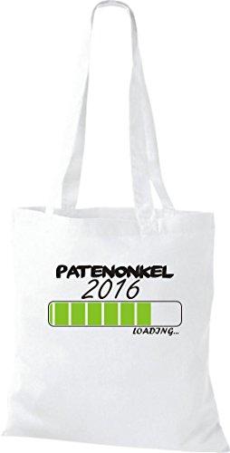Pochette en tissu Parrain Oncle 2016LOADING Sac en coton, Sac, Bandoulière, plusieurs couleurs Blanc - Blanc