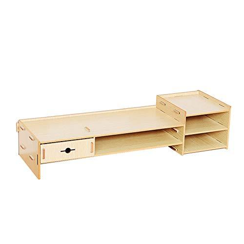 Dore Home Holz Display-Ständer Mit Einer Schublade Multifunktions-Office-Desktop-Manager Desktop-Bildschirm, Um Die Halswirbelsäule Heber Zum Schutz (Color : White Oak) - Schlafzimmer Kirsche Tv-ständer