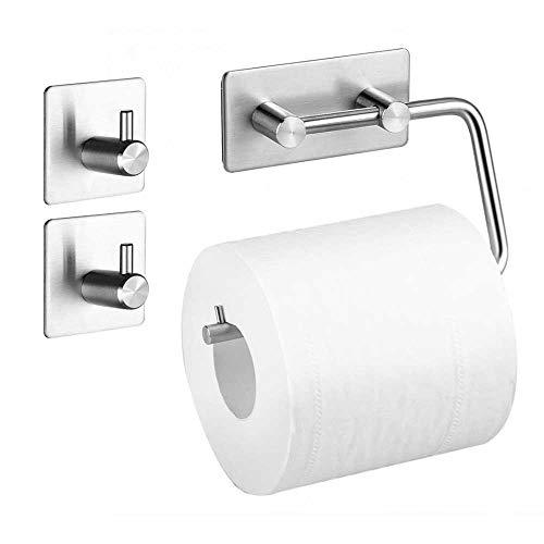 Toilettenpapierhalter Mit 2 Handtuchhalter, selbstklebend Ohne Bohren, aus Edelstahl Gebürstet