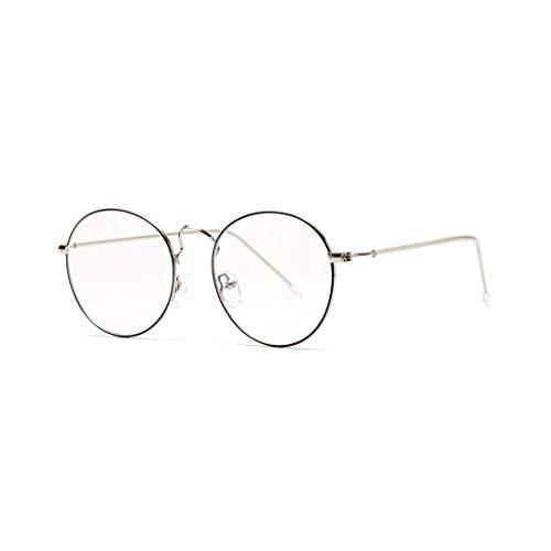 Lindan shangmao Vintage inspirierte Horn umrandeten Nerd klare Linse Brille Metall Runde Brillengestell (Farbe : Gold/Black)