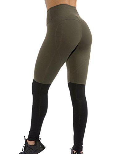 Yiiquan Femme Couleurs de Couture Slim Fitness Yoga Leggings Respirant Skinny Pantalon pour Sport Vert