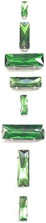 5. Zero ® ® ® Pierres à coudre de 8 pièces avec cristal de métal Couleur Emerald (3 pièces mm 15 x 5 + 3 pièces mm 24 x 8 + 2 pièces mm 30 x 10) B07B9WP7ZZ 69b321