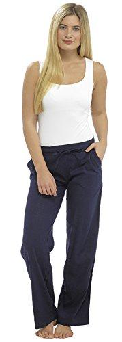 Cuffed Capri Hose (Lora Dora Damen Leinen Hose zugeschnitten Capri/Full Länge Hose UK 10-18 Gr. 40, Navy Full Pants Only)