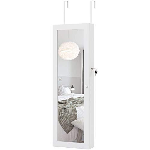 LENTIA Hängend Schmuckschrank abschließbar Schmuckregal mit weichern samt Türspiegel Schmuckkasten aus MDF Wandspiegel mit LED Beleuchtung Standspiegel 37 x 10 x 130 cm weiß