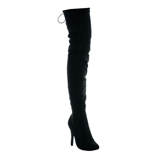 Angkorly - Chaussures De Mode High Boots Stiletto Femme Flexible En Dentelle Doré Talon Haut Stiletto Talon Haut 11.5 Cm Noir