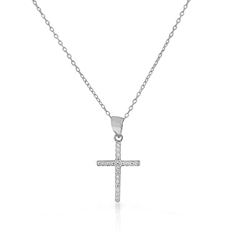 925 Sterling Silver Yellow Gold-Tone Clear CZ Religious Latin Cross Pendant Necklace, 18