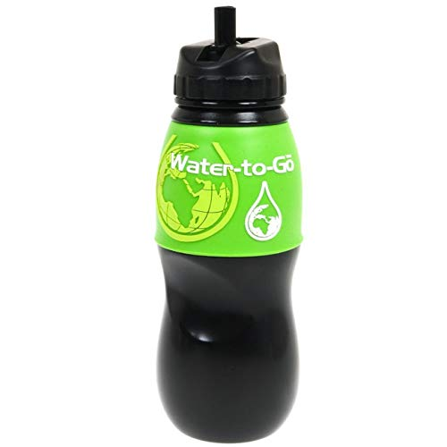 Water to Go Water Filtration Bottle 75cl - Black with green sleeve -