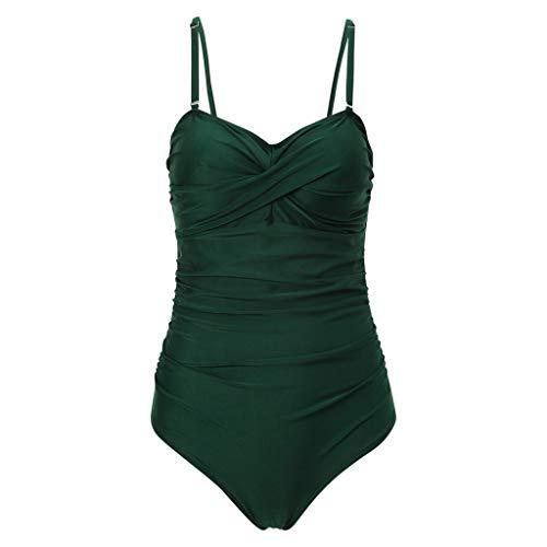 VBWER Damen Badeanzug Einteilige Polka-Punkt Bademode Figurformend Bauchweg Einfarbig Bikini Strandmode - Braut Boyshort