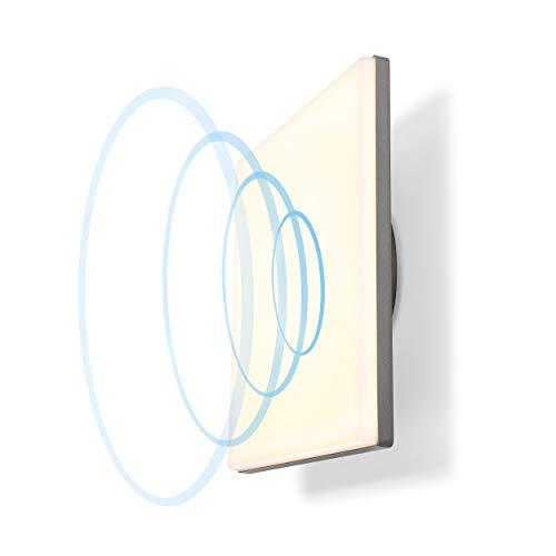 Quadratische LED Panelleuchte Lia mit 360° Mikrowellen-Bewegungsmelder - als Wandleuchte oder Deckenleuchte - Lichtfarbe warmweiß 3000K - Leistung 20 Watt 1400 lm - Außenleuchte Garten esotec 201202
