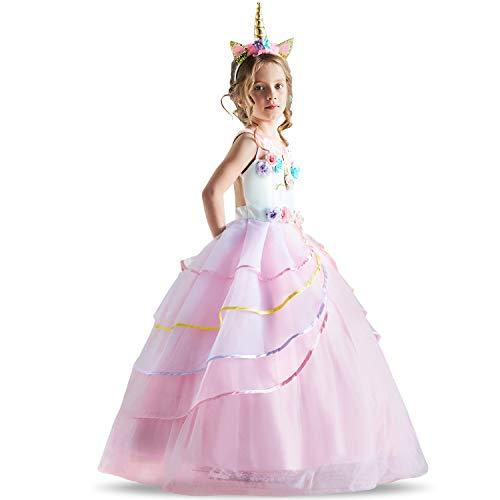 NNJXD Mädchen Einhorn-Kleid Applique-Partei Halloween-Fantasie-Kostüm Größe (110) 3-4 Jahre Rosa (Mädchen Halloween-kostüme Für Drei)