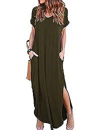 a48ca3fa3b2 Kidsform Women Maxi Dress Floral Side Split Casual Loose Pockets Sundress  Short Sleeve Summer Beach T