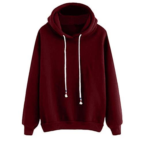 ESAILQ Frau Langarm-Pullover Solid Lässige Farbe Block Sweatshirt(M,Rot)