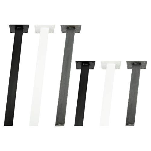4x Natural Goods Berlin STANDARD Legs eckige Metall Tischbeine massiv   quadratisch 50 x 50mm Profil   pulverbeschichtet und stabil   5mm Grundplatte   DIY Möbelfüße (42cm (Bank/Couchtisch), Schwarz)