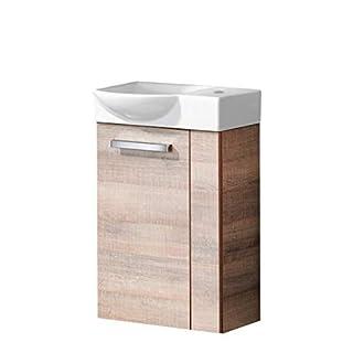 Fackelmann Gäste-WC Set A-VERO / Waschbecken und Unterschrank / Badmöbel für Gästebad / Maße (BxHxT): ca. 45 x 70,5 x 32 cm / Farbe: eiche (Schrank: Graueiche, Waschbecken links: weiß), 2-teiliges Set, Breite 45 cm / platzsparender Waschplatz / Waschtisch fürs kleine Bad