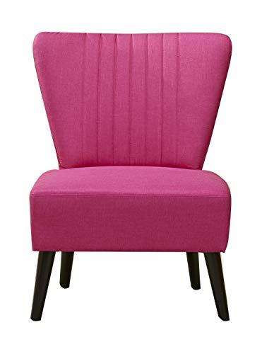Fauteuil Style Crapaud Tissu Rose Confortable - Design Vintage scandinave - Pieds Bois Retro - Justine