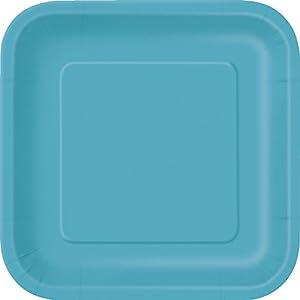 Unique Party Paquete de 14 platos cuadrados de papel Color azul cerceta 23 cm 32113